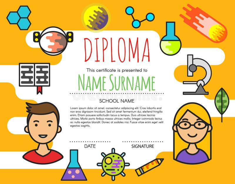 Fondo elemental preescolar del certificado del diploma de los niños del vector stock de ilustración