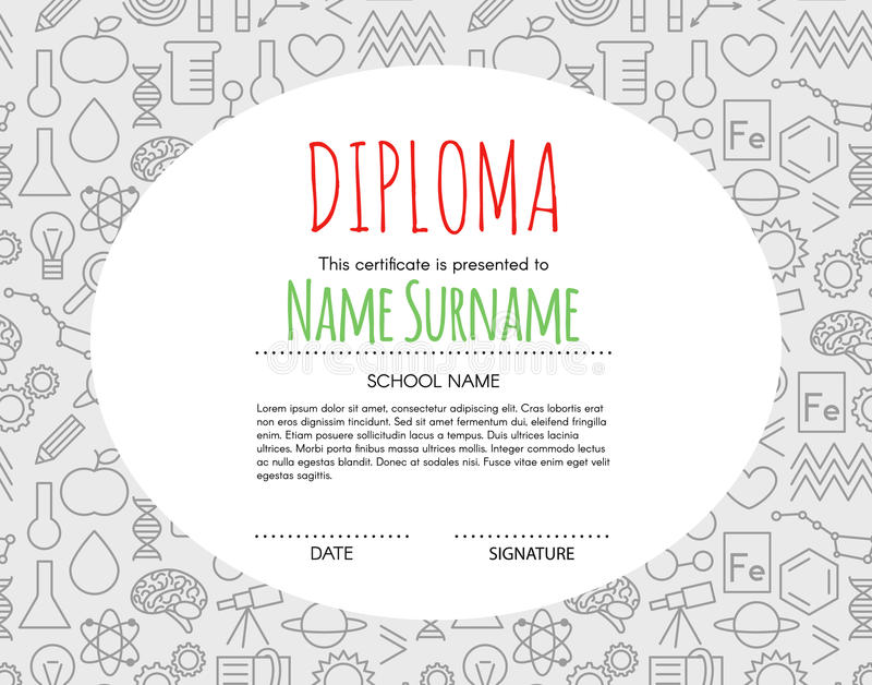 Fondo elemental preescolar del certificado del diploma de los niños del vector ilustración del vector