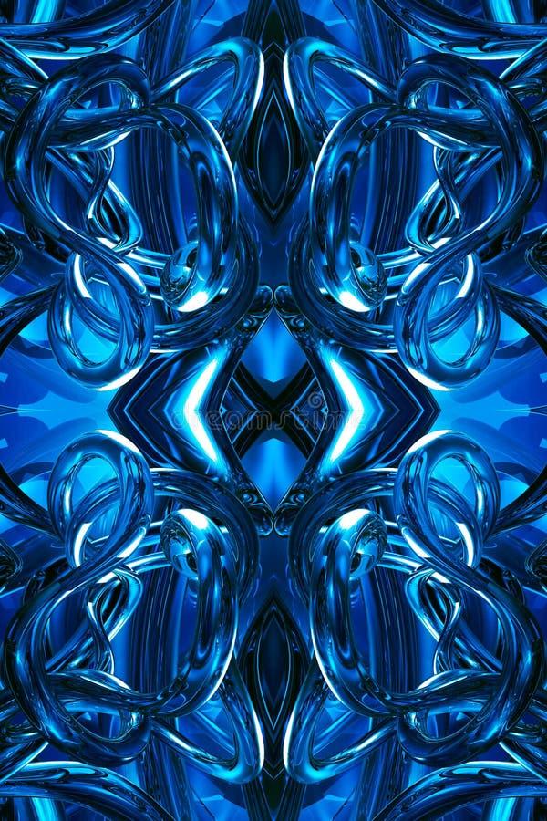 Fondo enérgico futurista azul generado por ordenador único artístico de las ilustraciones de los fractales 3d del extracto libre illustration
