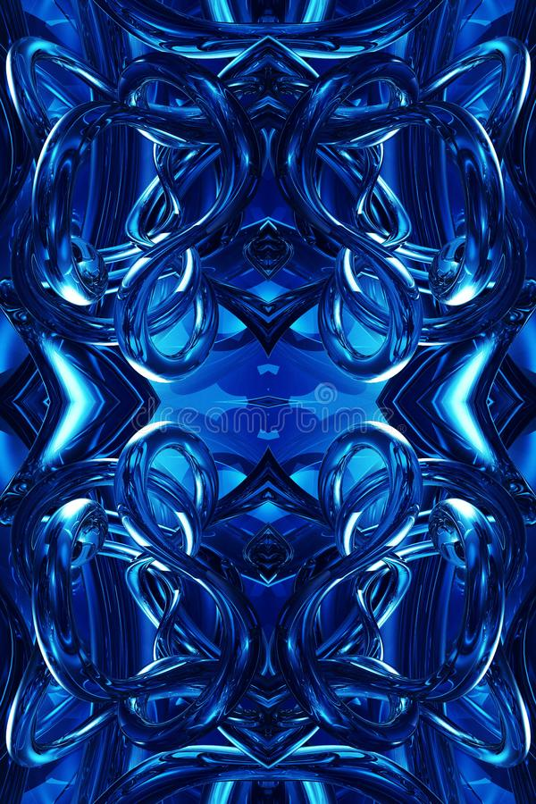 Fondo enérgico futurista moderno azul generado por ordenador único abstracto de las ilustraciones de los fractales 3d ilustración del vector