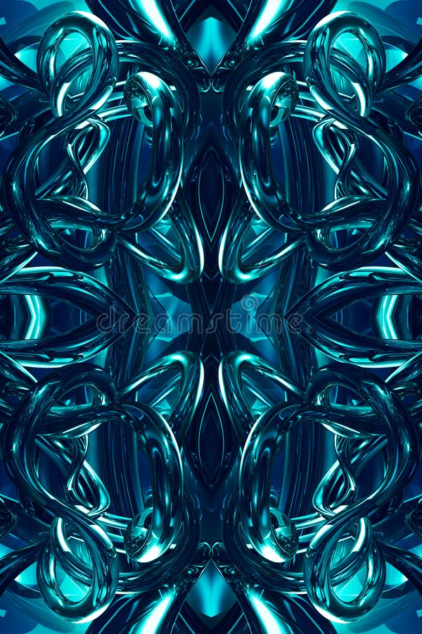 Fondo enérgico moderno generado por ordenador único abstracto de las ilustraciones de los fractales 3d stock de ilustración