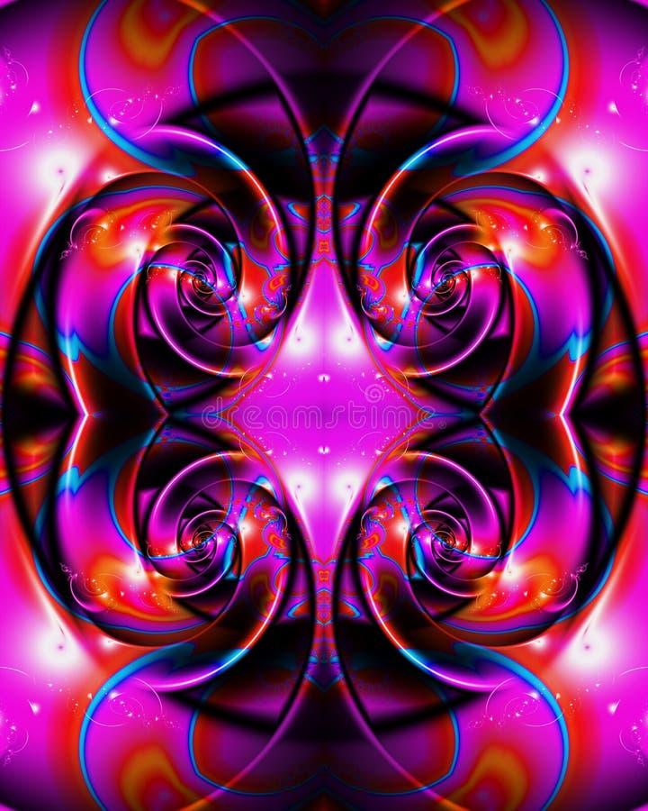 Fondo enérgico multicolor único artístico generado por ordenador de las ilustraciones de los modelos del fractal del extracto que stock de ilustración