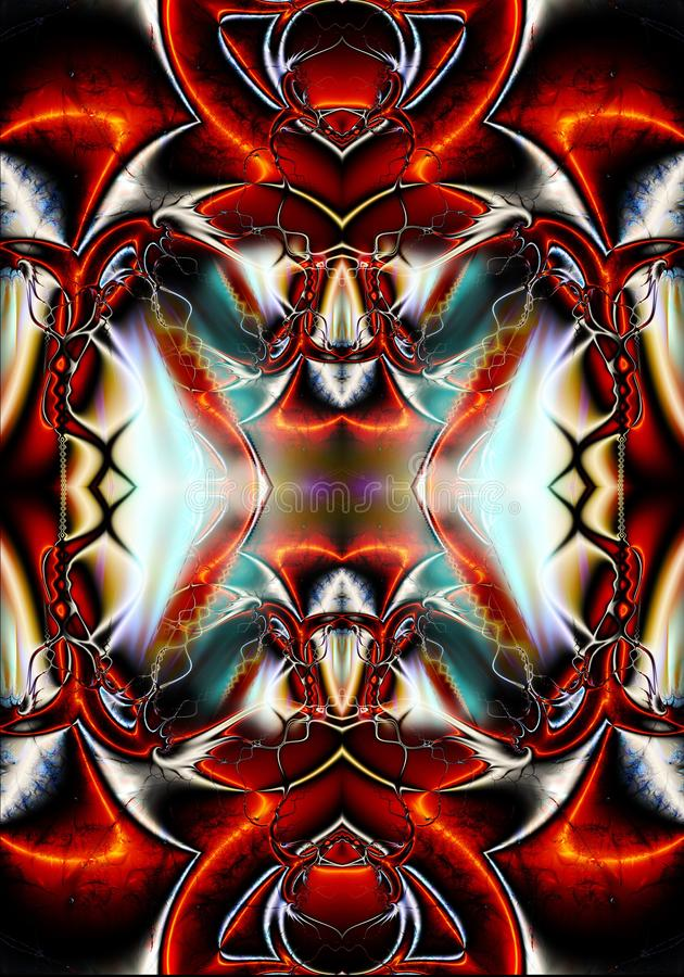 Fondo enérgico multicolor de las ilustraciones de los modelos del fractal del extracto futurista único generado por ordenador art libre illustration