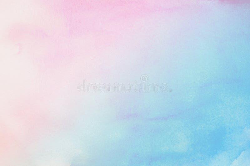 Fondo en colores pastel azul y rosado abstracto de la acuarela stock de ilustración