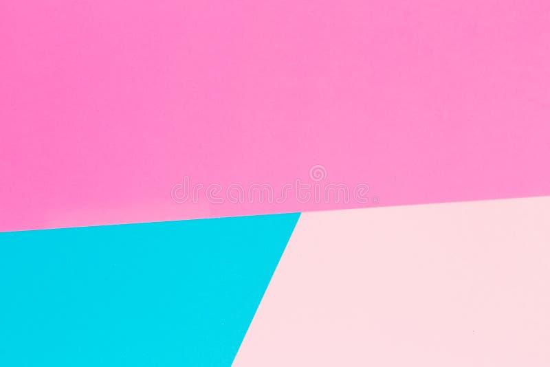 Fondo en colores pastel azul y rosado Endecha plana Visión superior foto de archivo libre de regalías