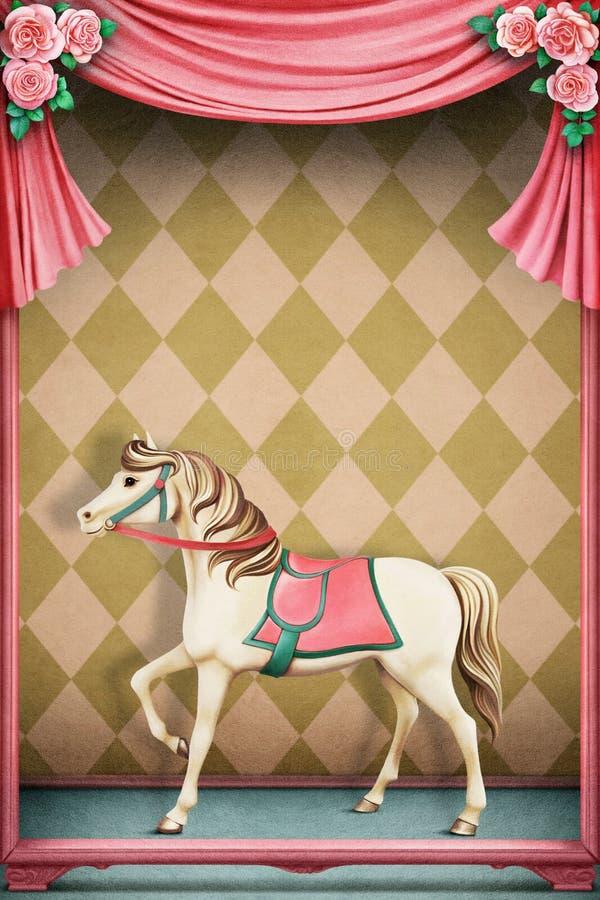 Fondo en colores pastel con el caballo stock de ilustración