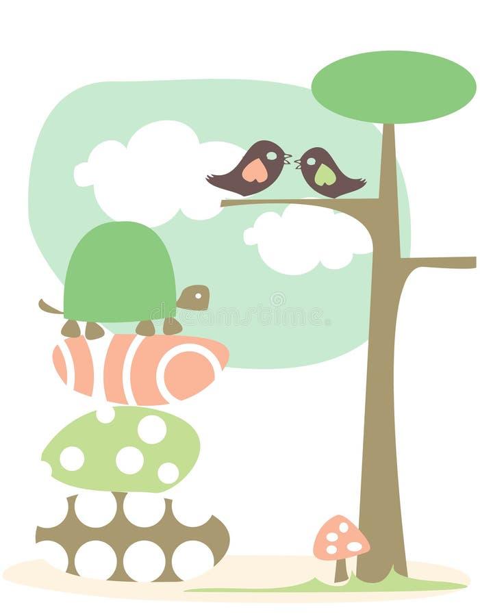 Fondo en colores pastel con los animales ilustración del vector