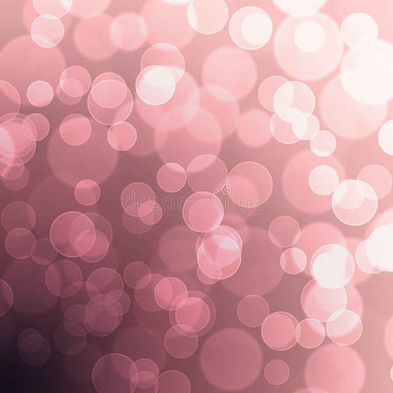 Fondo en colores pastel púrpura rosado del extracto del globo del brillo de Bokeh stock de ilustración