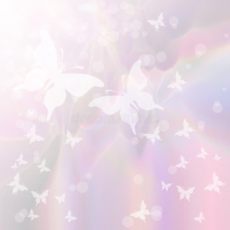 Fondo en colores pastel suave con el enjambre de mariposas libre illustration