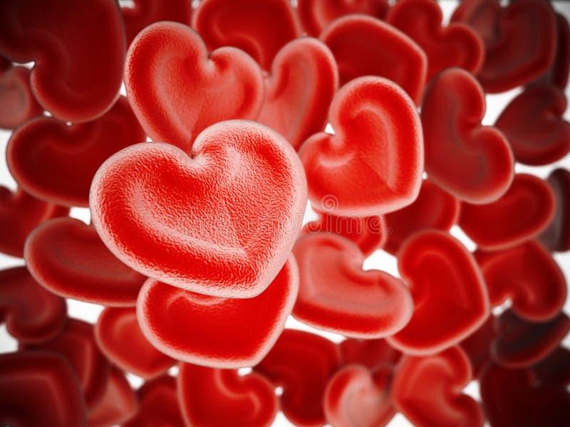 Fondo en forma de corazón humano de los glóbulos ilustración 3D ilustración del vector