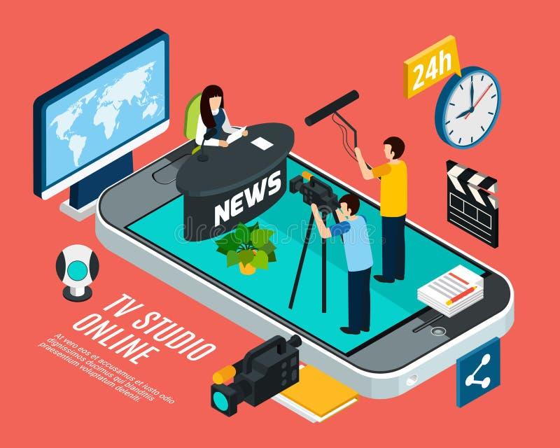 Fondo en línea del informativo de televisión ilustración del vector