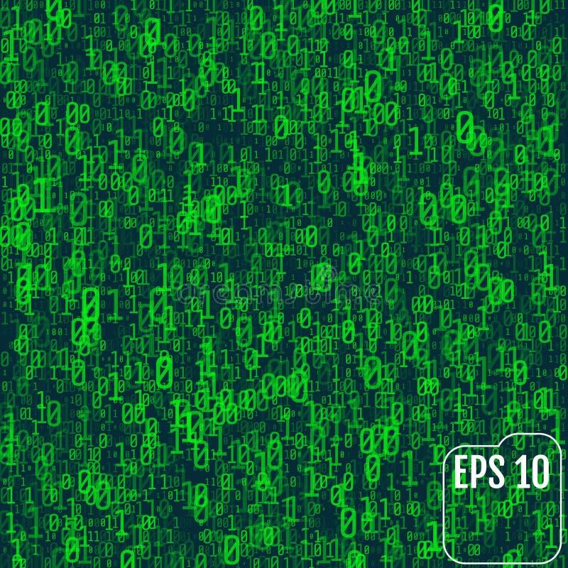 Fondo en un estilo de la matriz Números al azar descendentes El verde es d ilustración del vector