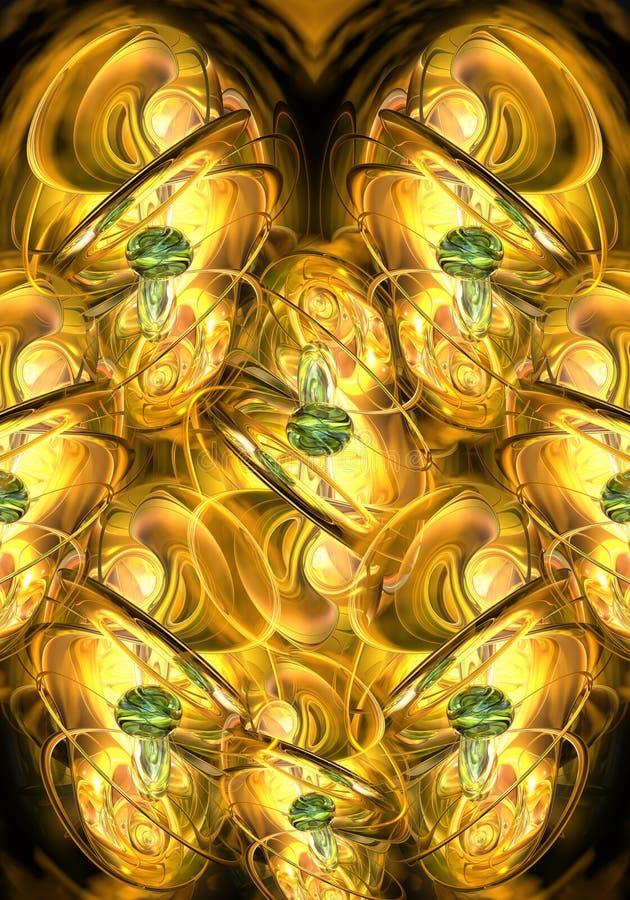Fondo energetico dorato del materiale illustrativo di frattali dell'estratto generato da computer unico artistico illustrazione vettoriale