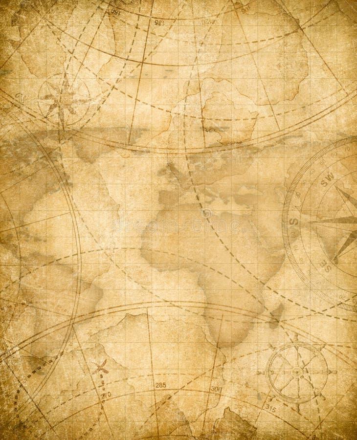 Fondo envejecido del mapa del tesoro de los piratas stock de ilustración