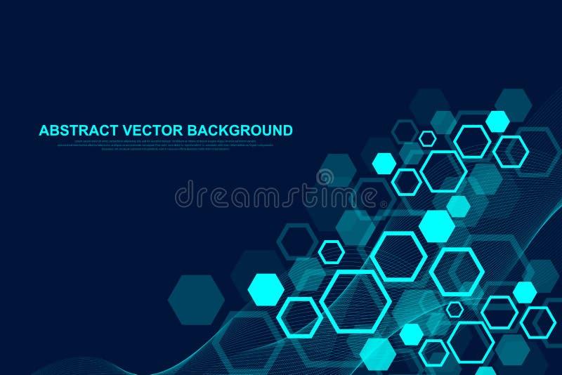 Fondo esagonale astratto con le onde Strutture molecolari esagonali Fondo futuristico di tecnologia nella scienza royalty illustrazione gratis
