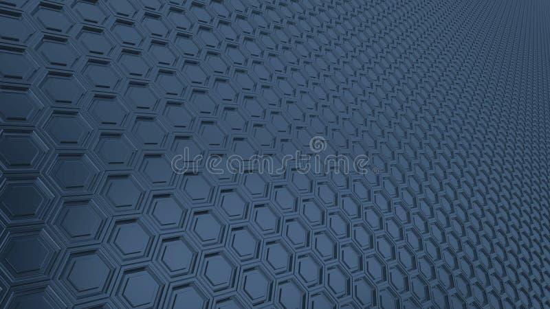 Fondo esagonale astratto del metallo di 16:9 di griglia con le riflessioni vaghe illustrazione di stock