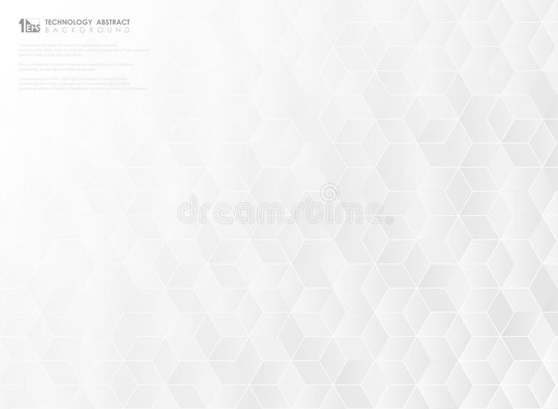 Fondo esagonale astratto della copertura di progettazione del modello di tecnologia bianca e grigia Vettore eps10 dell'illustrazi illustrazione di stock