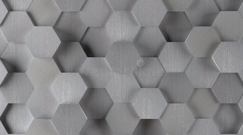 Fondo esagonale d'argento delle mattonelle (luci sopra) illustrazione vettoriale