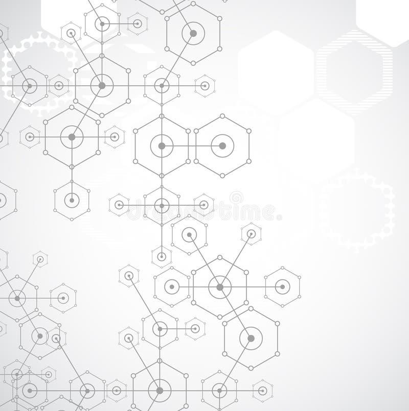 Download Fondo Esagonale Di Tecnologia Luminosa Bianca Astratta Illustrazione Vettoriale - Illustrazione di esperimento, elemento: 56892958