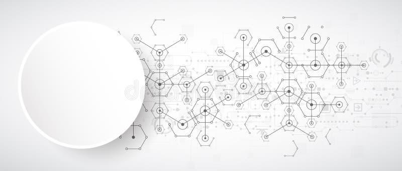 Download Fondo Esagonale Di Tecnologia Luminosa Bianca Astratta Connectio Illustrazione Vettoriale - Illustrazione di biotecnologia, esagono: 56892892