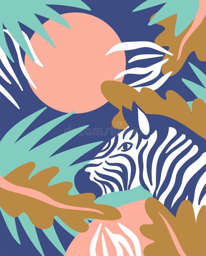 Fondo escandinavo del estilo con las hojas de palma y la cebra Tarjeta tropical Ilustración del vector libre illustration