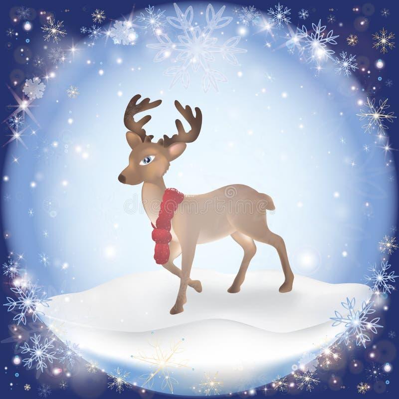 Fondo escarchado de la nieve del invierno con un ciervo de la Navidad stock de ilustración