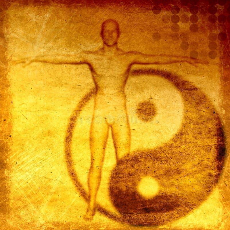 Fondo esoterico di lerciume astratto con il simbolo di yin yang illustrazione vettoriale