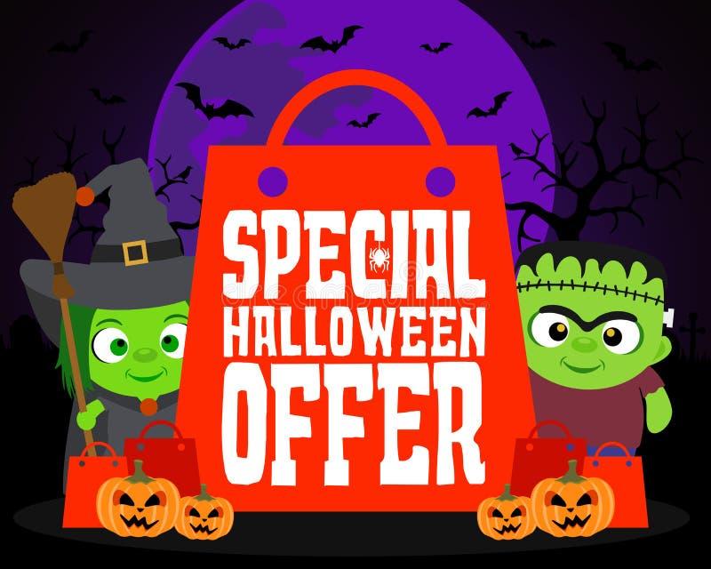 Fondo especial del diseño de la oferta de Halloween con los niños ilustración del vector