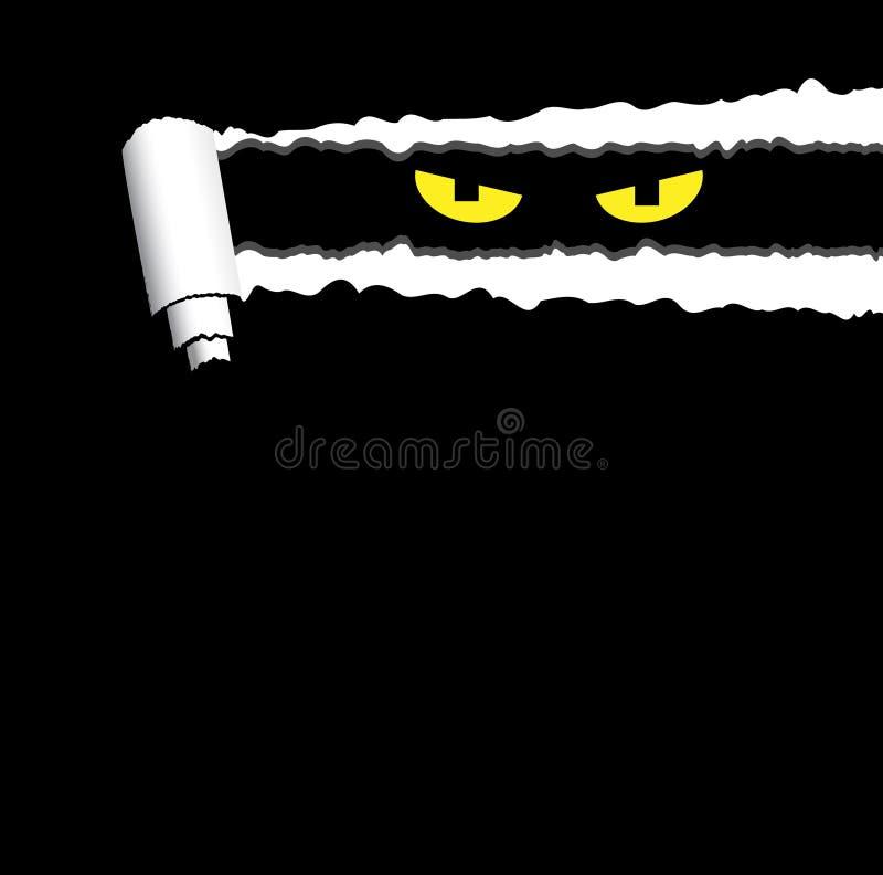 Fondo espeluznante de Halloween con el papel rodado rasgado y los ojos fantasmagóricos que miran hacia fuera libre illustration