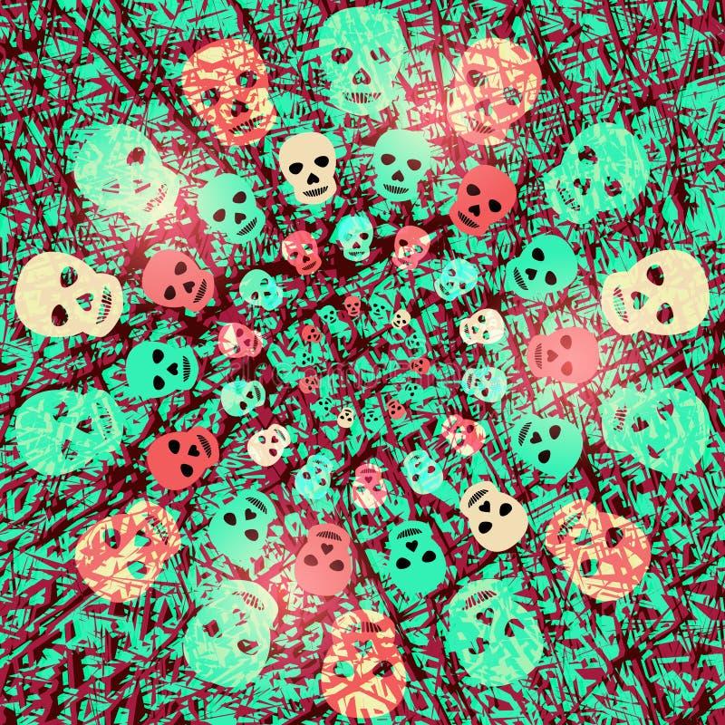 Fondo espeluznante rojo y verde de Halloween con los cráneos brillantes foto de archivo