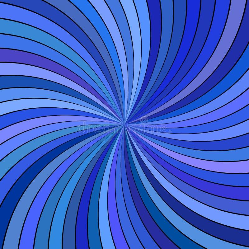 Fondo espiral abstracto hipnótico azul con los rayos rayados curvados stock de ilustración