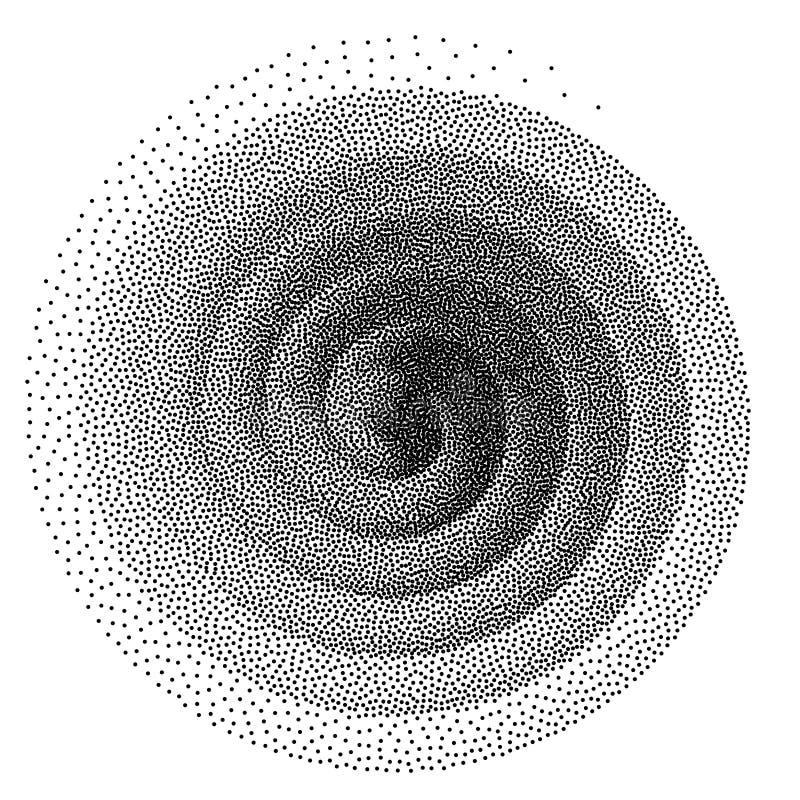 Fondo espiral abstracto Modelo de puntos de semitono blanco y negro del stipple stock de ilustración