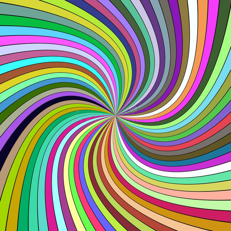 Fondo espiral abstracto psicodélico colorido de rayos curvados ilustración del vector