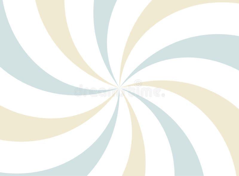 Fondo espiral ancho horizontal de la luz del sol fondo azul, blanco y beige descolorado de la explosión de color ilustración del vector