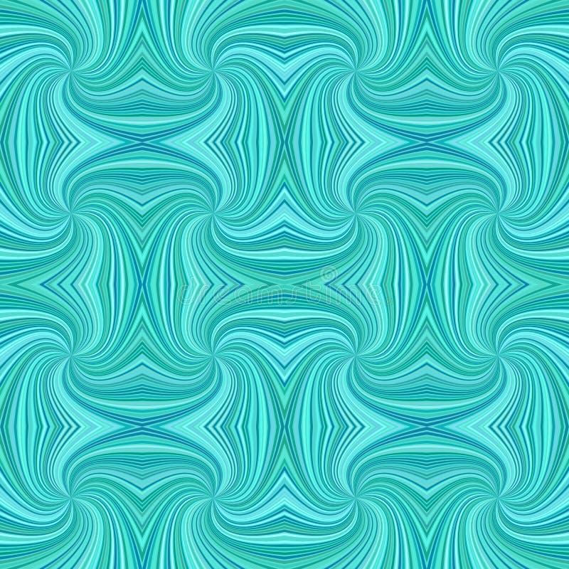 Fondo espiral geometrcial psicodélico inconsútil del modelo de la raya de la turquesa - diseño del vector stock de ilustración