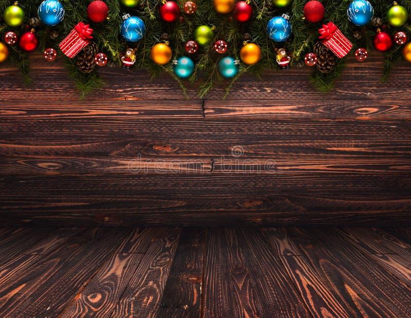 Fondo estacional de la Feliz Año Nuevo 2017 con las chucherías de la Navidad fotos de archivo