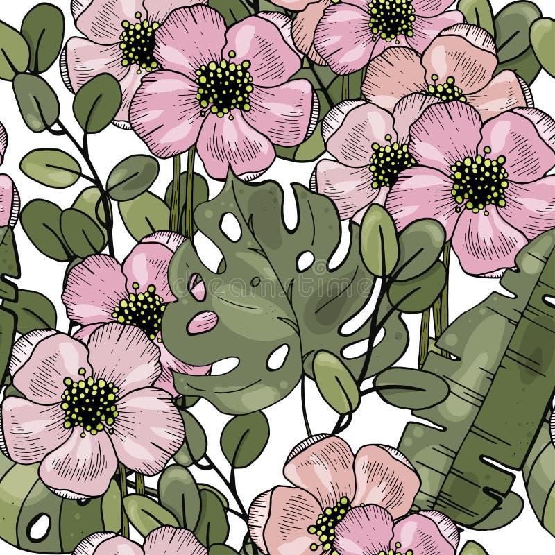 Fondo estilizado del arte Plantilla floral del rosa del vector Modelo incons?til r?stico en fondo ligero ilustración del vector