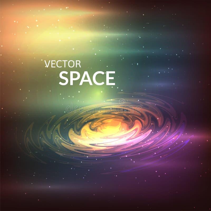 Fondo estrellado de estrellas y de nebulosas adentro profundamente stock de ilustración