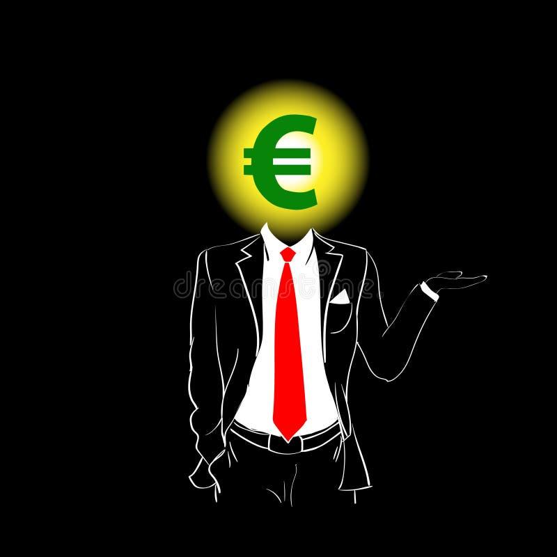 Fondo euro del negro de la cabeza de la muestra del lazo rojo del traje de la silueta del hombre stock de ilustración