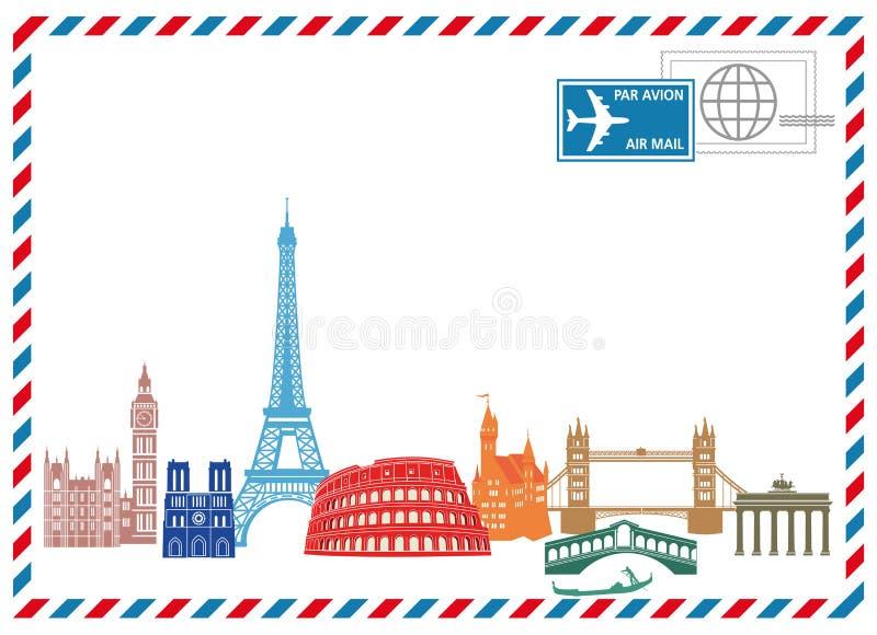 Fondo europeo di viaggio illustrazione vettoriale