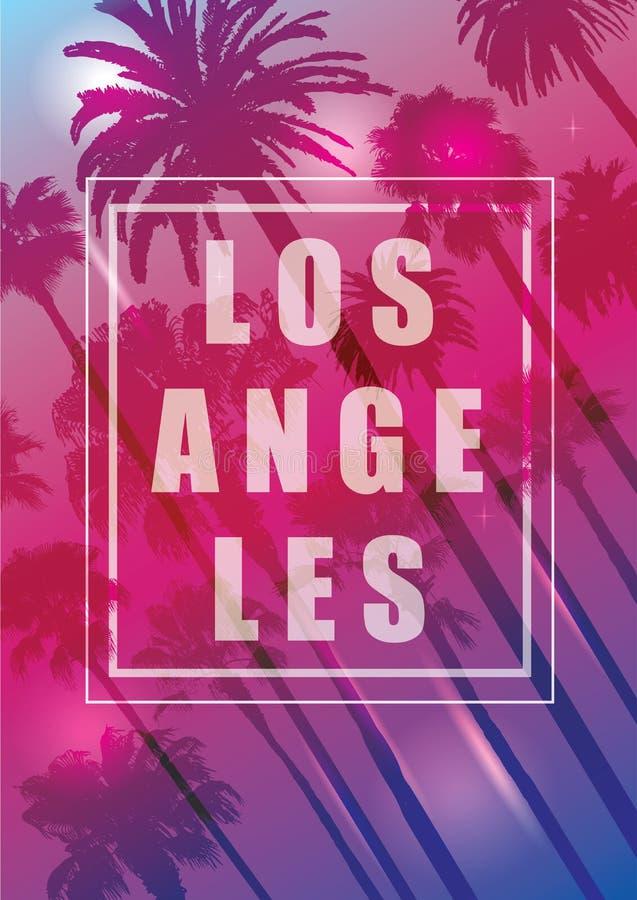 Fondo exótico del viaje con las palmeras para Los Ángeles, California stock de ilustración