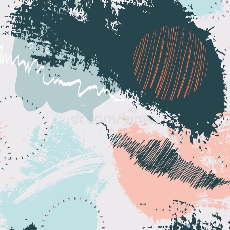 Fondo exhausto de la mano creativa con los elementos azules rosados de la marina de guerra de los modelos Collage de la dinámica  ilustración del vector