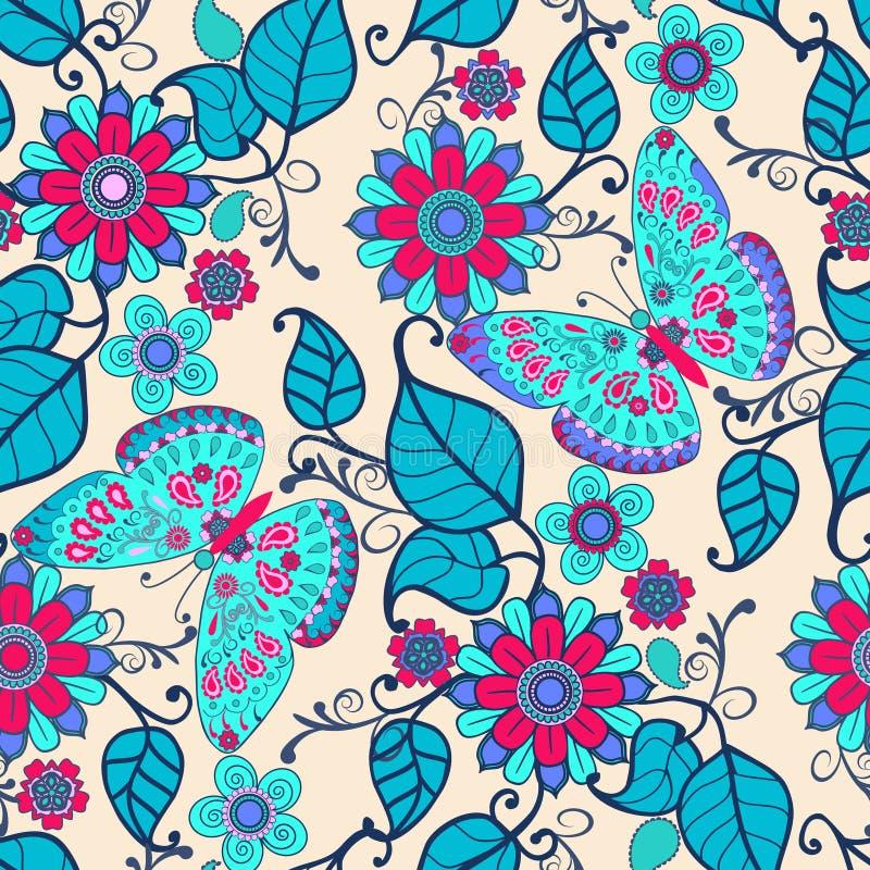 Fondo exhausto de la mano decorativa con el ornamento floral y las mariposas libre illustration