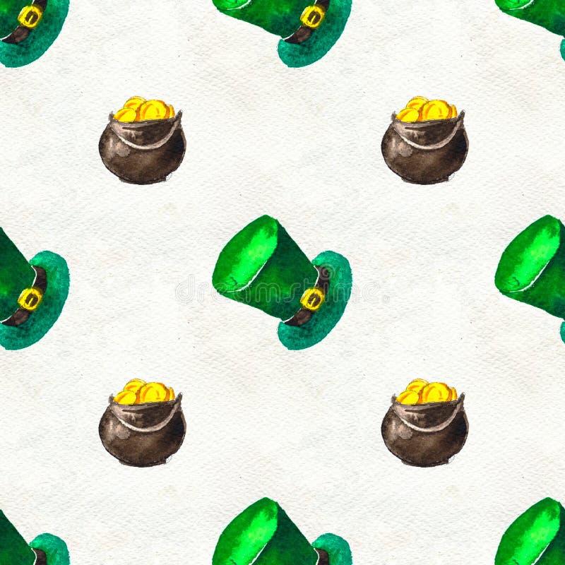 Fondo exhausto de la mano inconsútil con los símbolos del día de St Patrick libre illustration