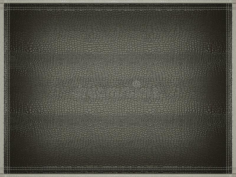 Fondo falso negro de la piel del croc o del cocodrilo con el marco cosido imagen de archivo libre de regalías