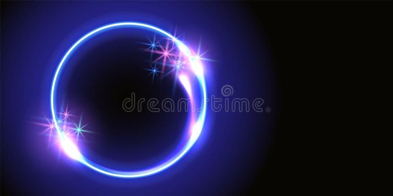 Fondo fantástico con el marco, las estrellas de la chispa y el portal redondos de neón del espacio en otra dimensión ilustración del vector