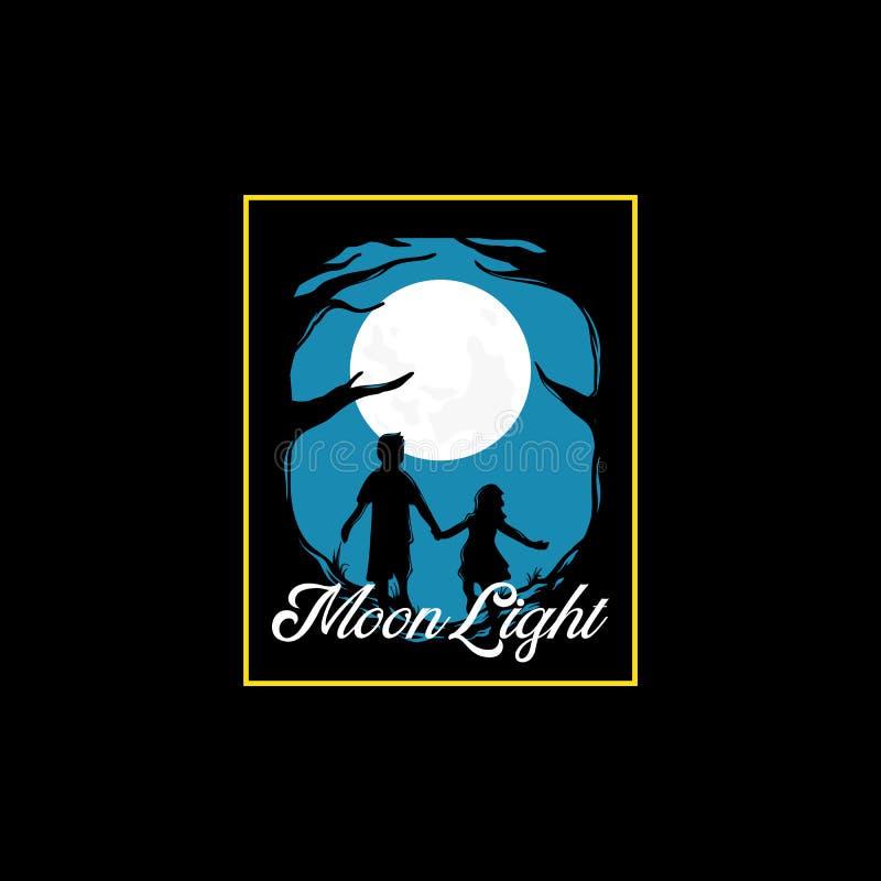 Fondo fantasmagórico de la noche con la Luna Llena, siluetas asustadizas de los árboles con dos personas que corren hacia la luz stock de ilustración