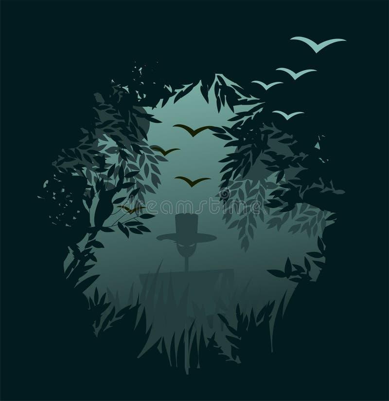 Fondo fantasmagórico del bosque para víspera de Todos los Santos ilustración del vector