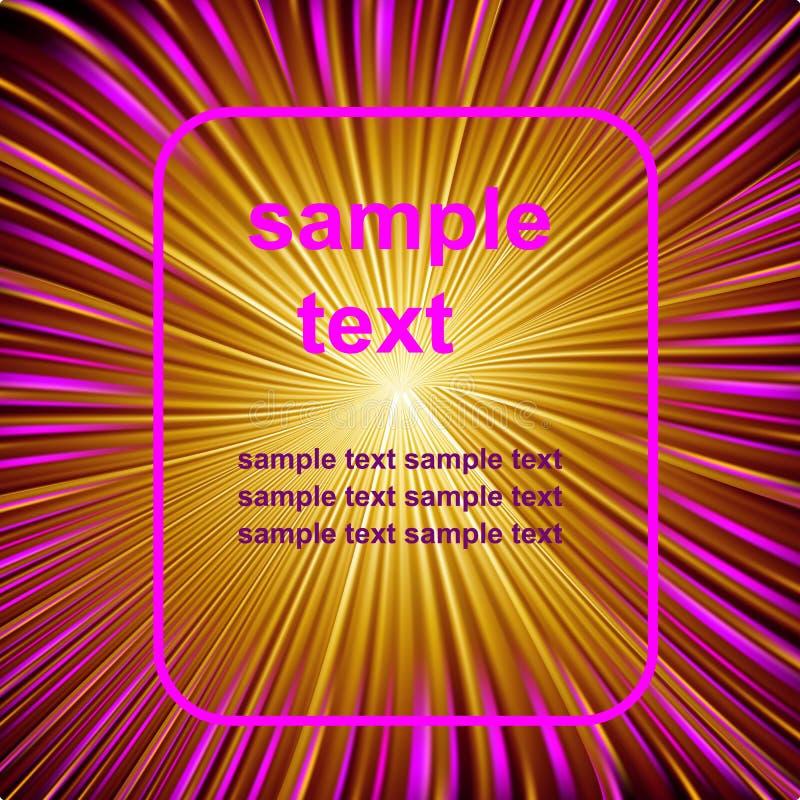 Fondo fantastico astratto dello spazio con color scarlatto luminoso ed i raggi gialli illustrazione di stock