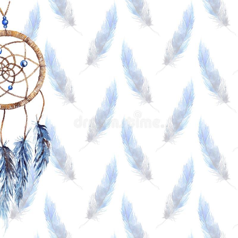 Fondo fatto a mano tribale etnico del modello del dreamcatcher della piuma dell'acquerello royalty illustrazione gratis